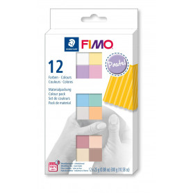 FIMO soft material pack with 12 half blocks Pastel