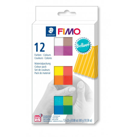 FIMO soft material pack with 12 half blocks Brilliant