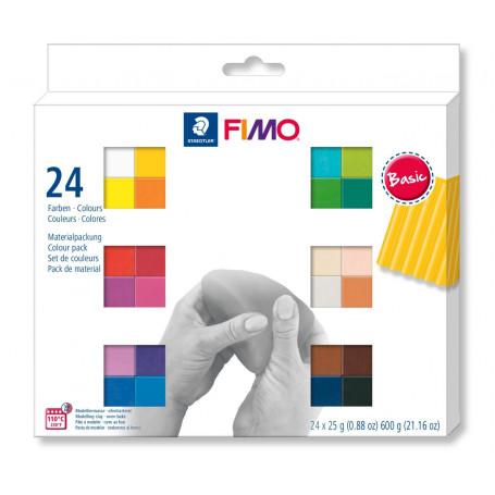 FIMO SOFT Pâte à modeler'Basic', kit de 24