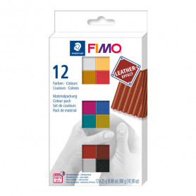 Fimo Leather effect material pack with 12 half blocks