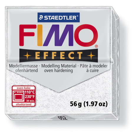 Fimo effect white glitter no. 052